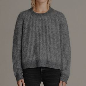 ALL SAINTS Ade Cropped Jumper Gray Sweater Small